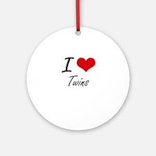 I love Twins Round Ornament