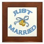 Pretty Just Married Framed Tile