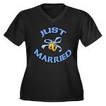 Pretty Just Married Women's Plus Size V-Neck Dark