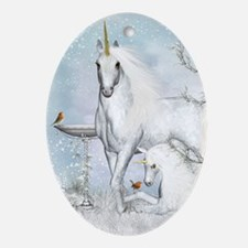 Winter Robins & Unicorns Oval Ornament