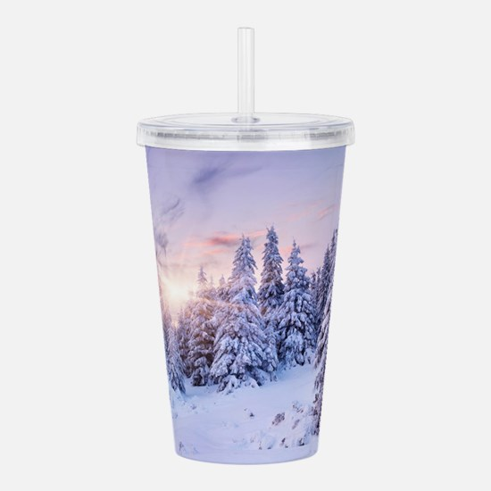 Winter Pine Forest Acrylic Double-wall Tumbler