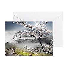 Japanese Cherry Landscape Greeting Card