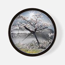 Japanese Cherry Landscape Wall Clock
