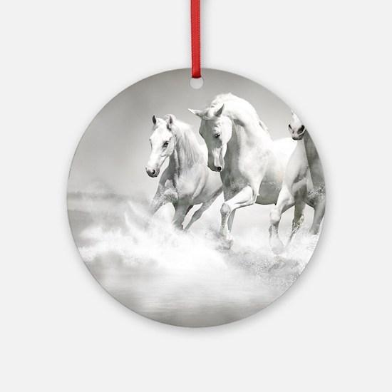 Wild White Horses Round Ornament