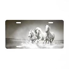 Wild White Horses Aluminum License Plate