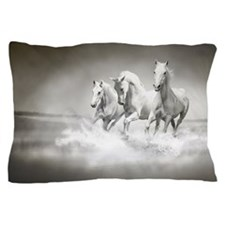 Wild White Horses Pillow Case