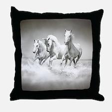 Wild White Horses Throw Pillow