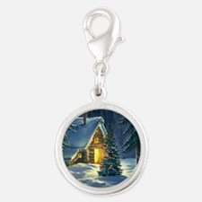 Christmas Snow Landscape Silver Round Charm