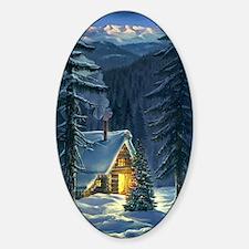 Christmas Snow Landscape Sticker (Oval)