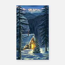 Christmas Snow Landscape Rectangle Car Magnet