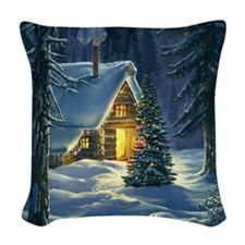 Christmas Snow Landscape Woven Throw Pillow