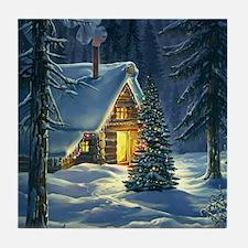 Christmas Snow Landscape Tile Coaster