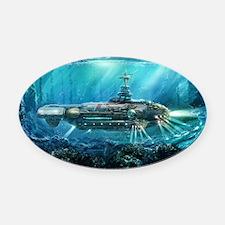 Steampunk Submarine Oval Car Magnet