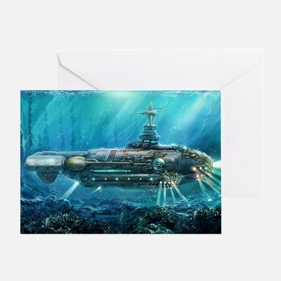 Steampunk Submarine Greeting Card