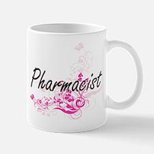 Pharmacist Artistic Job Design with Flowers Mugs
