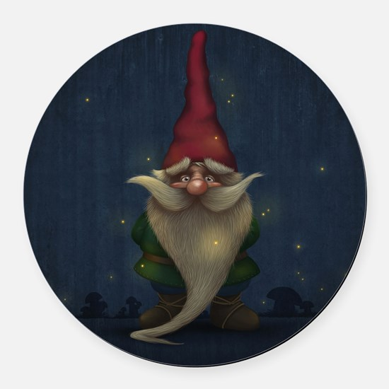 Old Christmas Gnome Round Car Magnet