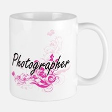 Photographer Artistic Job Design with Flowers Mugs