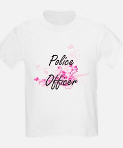 Police Officer Artistic Job Design with Fl T-Shirt