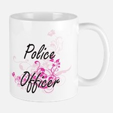 Police Officer Artistic Job Design with Flowe Mugs