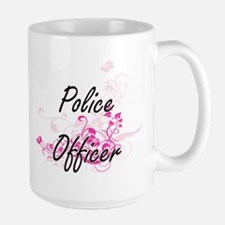 Police Officer Artistic Job Design with Flowe Mugs