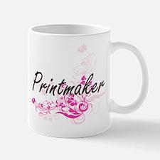 Printmaker Artistic Job Design with Flowers Mugs
