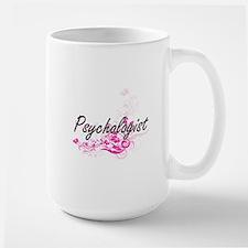 Psychologist Artistic Job Design with Flowers Mugs
