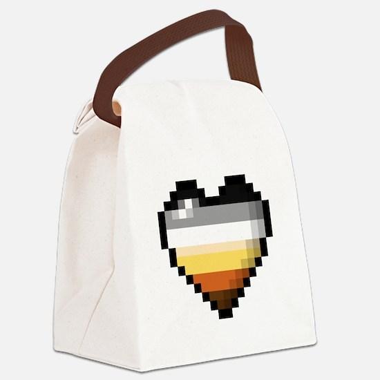 Bear Pixel Heart Canvas Lunch Bag