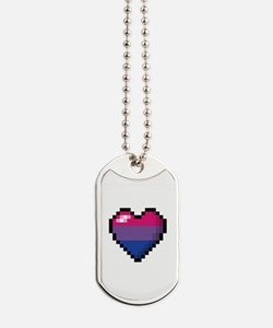 Bisexual Pixel Heart Dog Tags