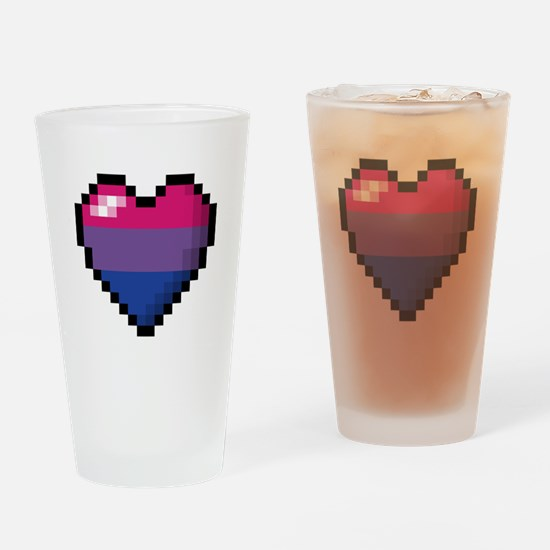 Bisexual Pixel Heart Drinking Glass