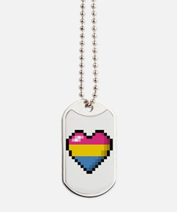 Pansexual Pixel Heart Dog Tags