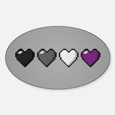 Asexual Pixel Hearts Sticker (Oval)
