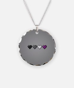 Asexual Pixel Hearts Necklace