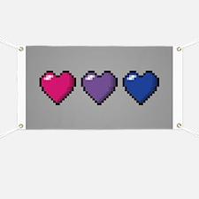 Bisexual Pixel Hearts Banner