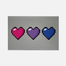 Bisexual Pixel Hearts Rectangle Magnet