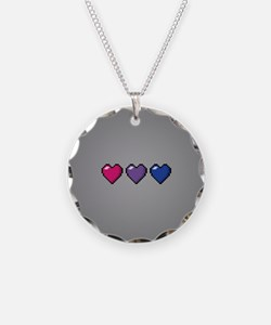 Bisexual Pixel Hearts Necklace