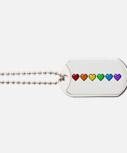 Rainbow Pixel Hearts Dog Tags
