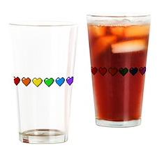 Rainbow Pixel Hearts Drinking Glass