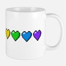 Rainbow Pixel Hearts Mugs
