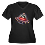 Evil Space Ship Penguin Women's Plus Size V-Neck D