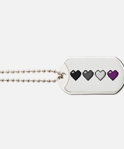 Asexual Pixel Hearts Dog Tags