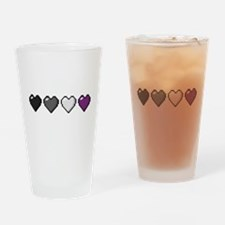 Asexual Pixel Hearts Drinking Glass