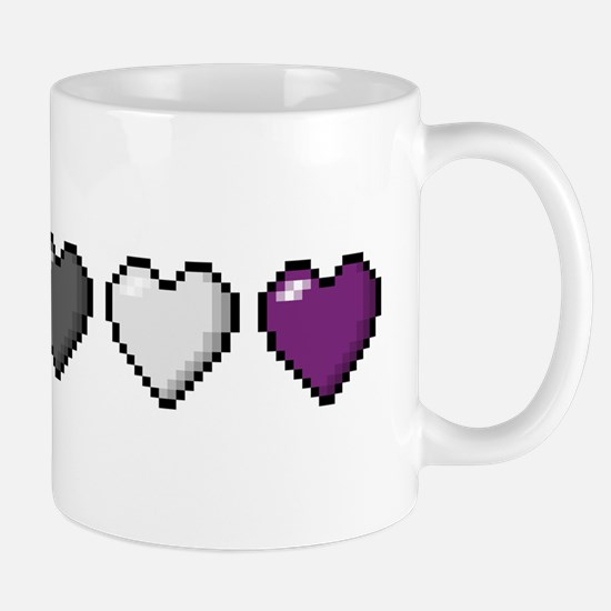 Asexual Pixel Hearts Mugs