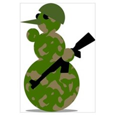 snowman army christmas Poster