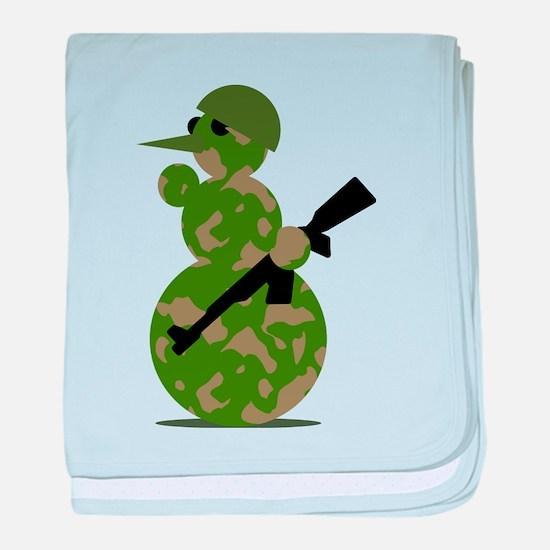 snowman army christmas baby blanket