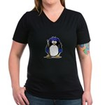 Blue Hockey Penguin Women's V-Neck Dark T-Shirt
