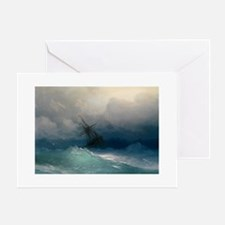 Ship In Stormy Seas Card Greeting Cards