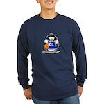 Basketball Penguin Long Sleeve Dark T-Shirt