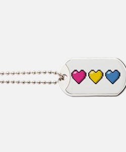 Pansexual Pixel Hearts Dog Tags