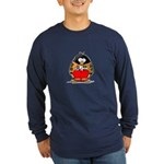 Auto Racing Penguin Long Sleeve Dark T-Shirt
