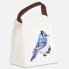 Original Watercolor Blue Jay Canvas Lunch Bag